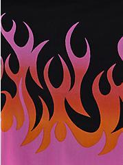 Black Flames Underwire Peplum One-Piece Swimsuit, DEEP BLACK, alternate