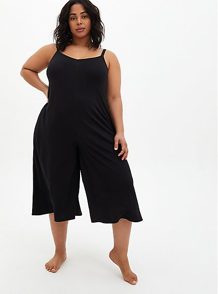 Black Wide Leg Swim Coverup Crop Romper, DEEP BLACK, hi-res