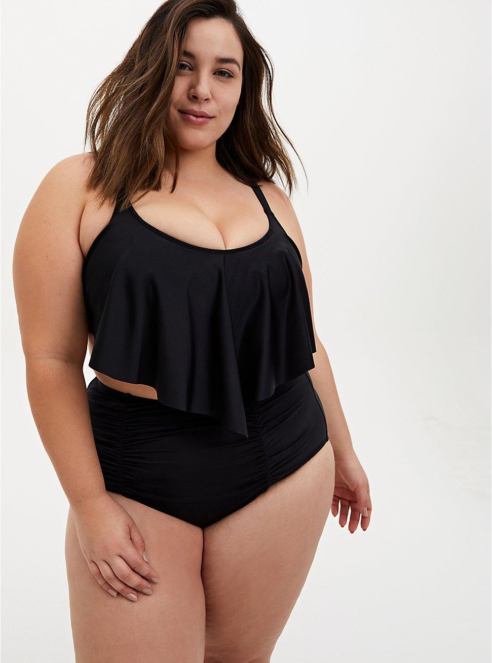 Black V-Flounce Bikini Top, DEEP BLACK, hi-res
