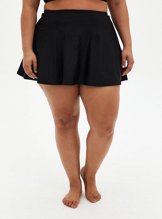 Black High Waist Skater Swim Skirt With Short, , hi-res