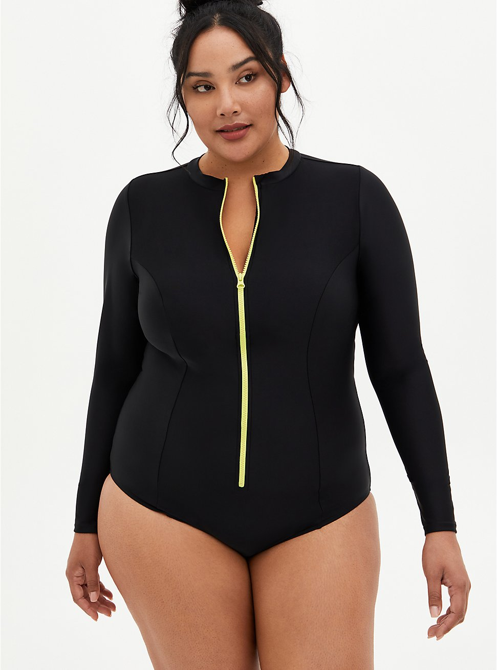Black Long Sleeve One-Piece Active Swimsuit, DEEP BLACK, hi-res