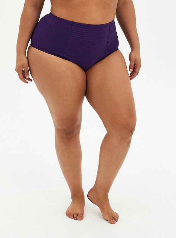 Dark Purple Shadow Stripe High Waist Ruched Swim Bottom, PURPLE, hi-res