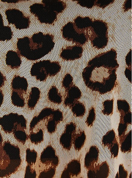 Leopard Wireless Mesh V-Flounce Bikini Top, MULTI, alternate