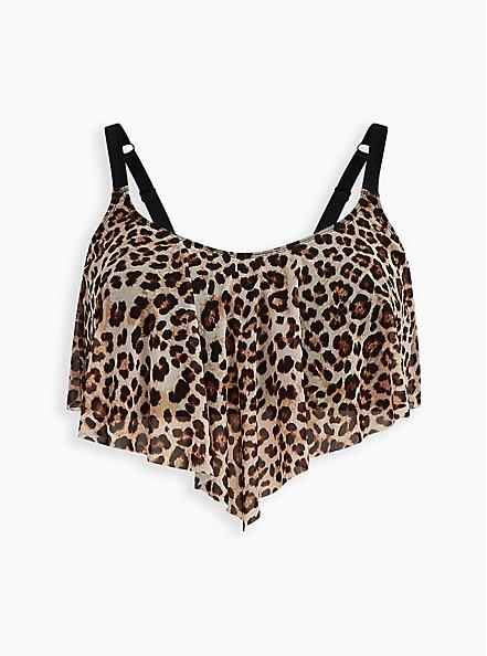 Leopard Wireless Mesh V-Flounce Bikini Top, MULTI, hi-res