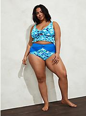 Blue Mermaid High Waist Knot Front Swim Bottom, MULTI, alternate
