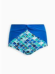 Blue Mermaid High Waist Knot Front Swim Bottom, MULTI, hi-res