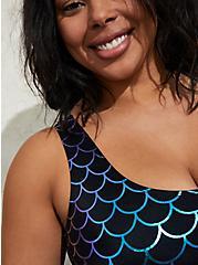Black Mermaid Wireless Scoop Neck Bikini Top, MULTI, alternate