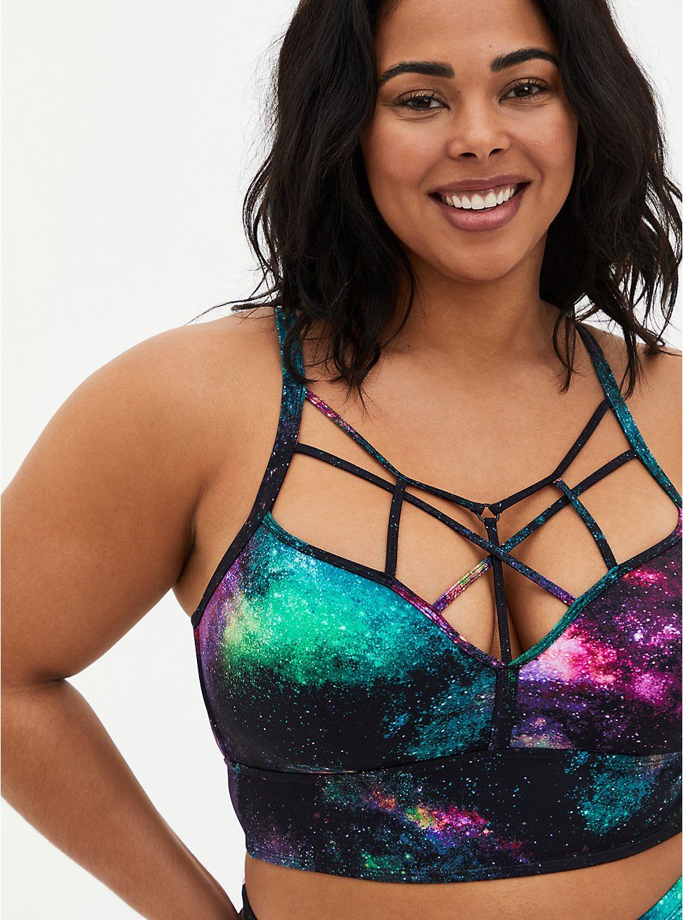 Galaxy Strappy Wireless Bikini Top, MULTI, hi-res