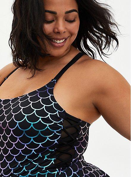 Mermaid Side Tie Swim Dress - Black, MULTI, alternate