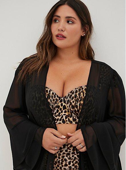 Black Ruffle Maxi Swim Kimono, DEEP BLACK, alternate