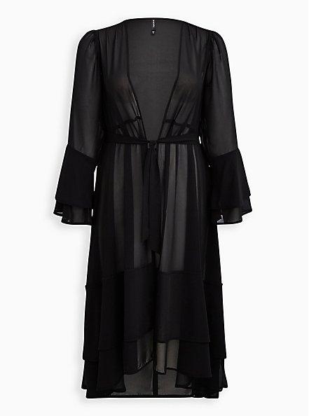 Black Ruffle Maxi Swim Kimono, DEEP BLACK, hi-res