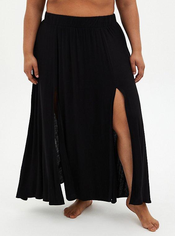 Black Jersey Side Slit Skirt Swim Cover-Up, , hi-res