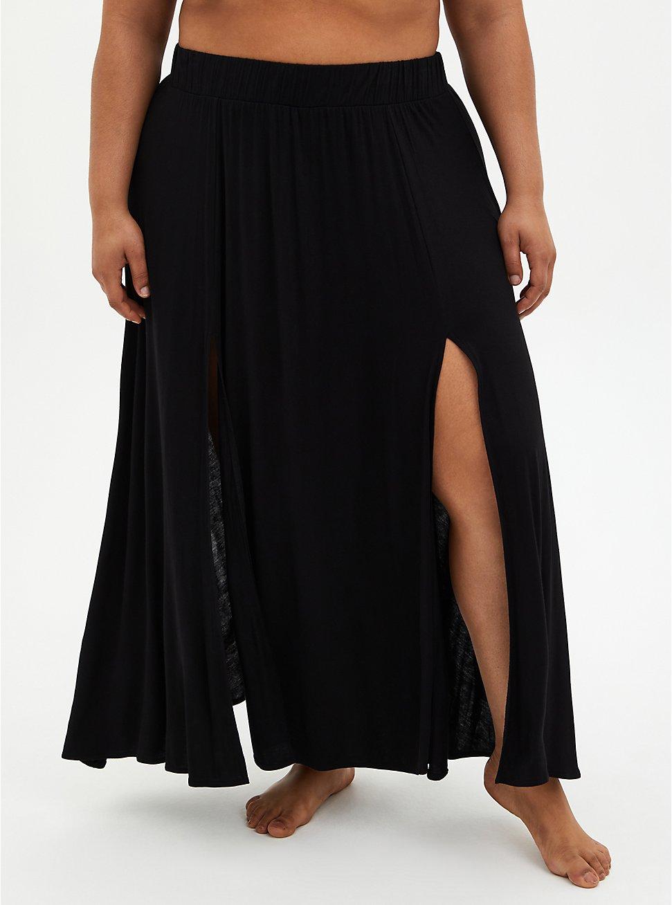 Black Jersey Side Slit Skirt Swim Cover-Up, DEEP BLACK, hi-res