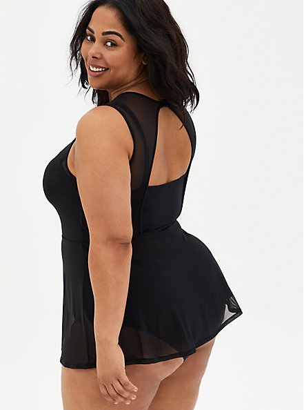Black Mesh Underwire Peplum Short One-Piece Swim Dress, DEEP BLACK, alternate