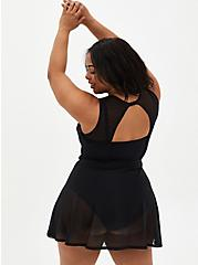 Black Mesh Underwire Peplum Long One-Piece Swim Dress, DEEP BLACK, alternate
