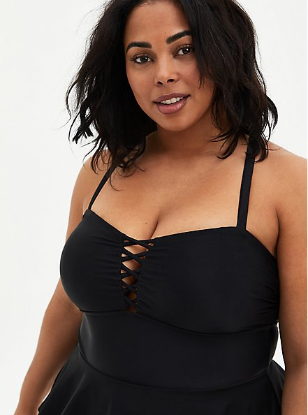 Black Lattice Front Peplum Swim Dress - Short, , alternate