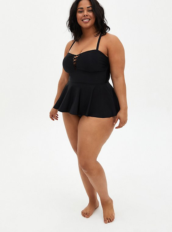 Black Lattice Front Peplum Swim Dress, MULTI, hi-res