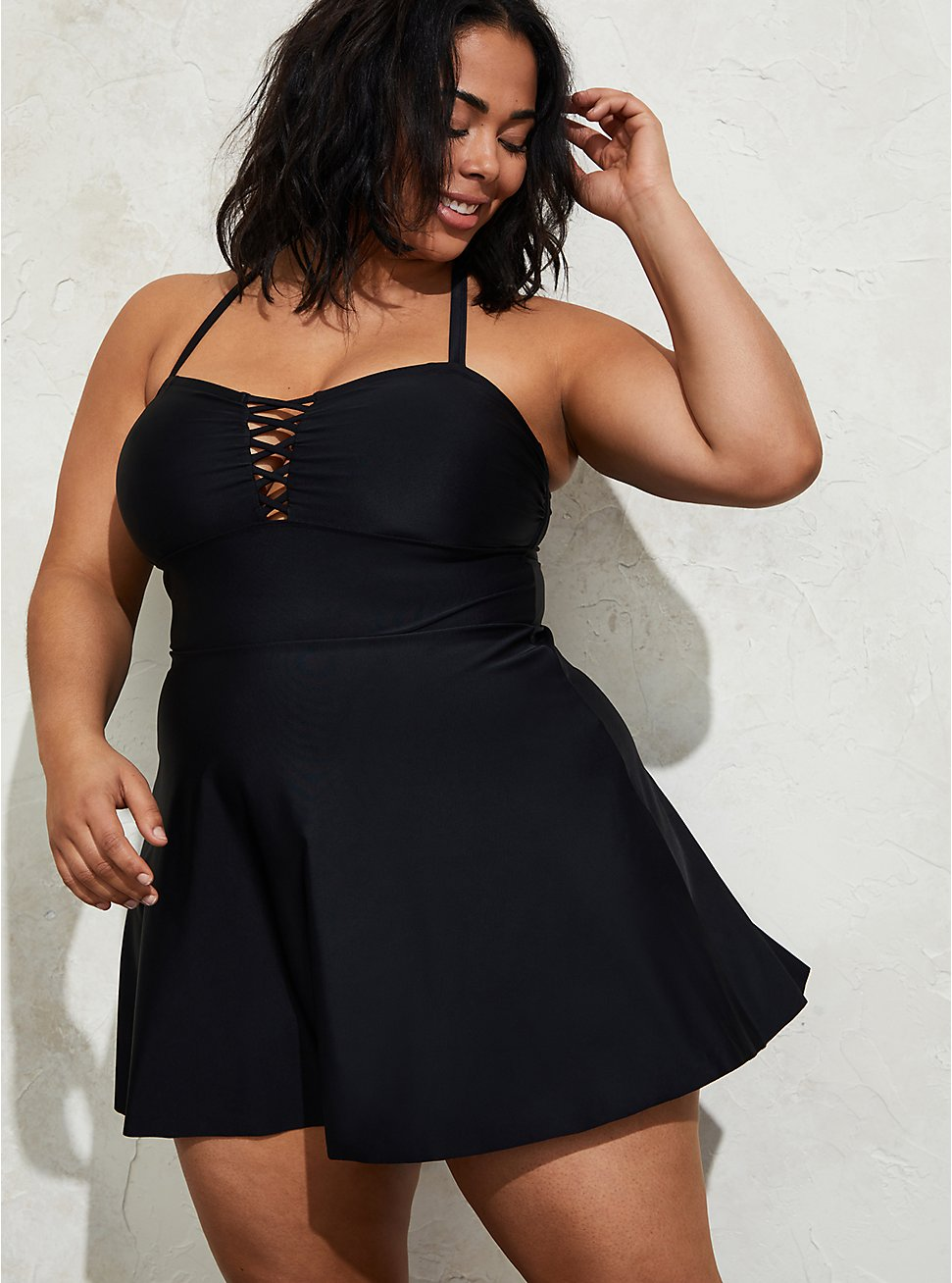 Black Crisscross Peplum Swim Dress - Long, , hi-res