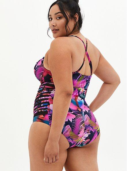 Plus Size Leaves Lattice Side Underwire Swim One-Piece, MULTI, alternate