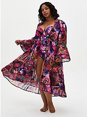 Leaves Maxi Kimono Swim Cover-Up , MULTI, hi-res