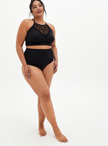 Black Crochet Detail Swim Botton, DEEP BLACK, alternate