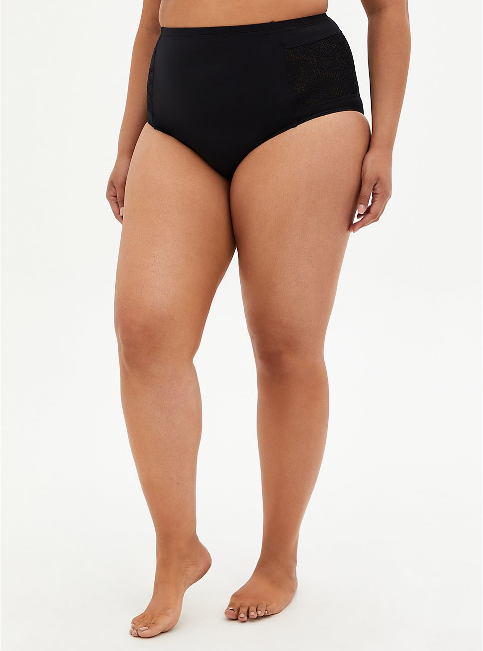 Black Crochet Detail Swim Botton, DEEP BLACK, hi-res