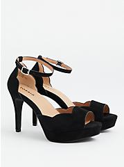Black Faux Suede Scalloped Peep Toe Platform Heel (WW), BLACK, alternate