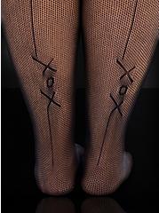 Betsey Johnson Black XOX Fishnet Tights, BLACK, alternate