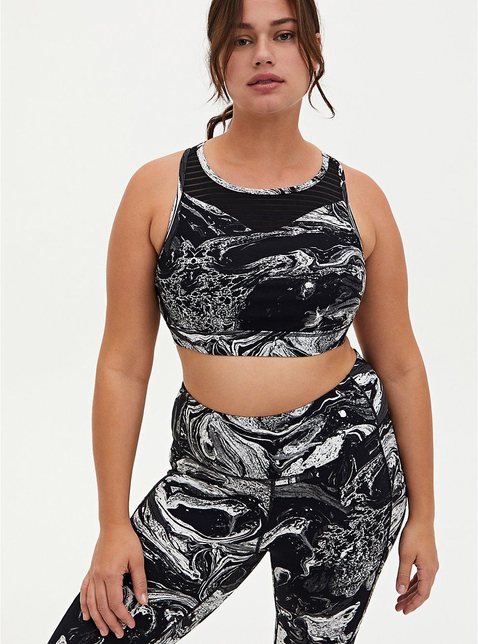 Black & White Marble Shadow Stripe Wicking Sports Bra, OTHER PRINTS, hi-res