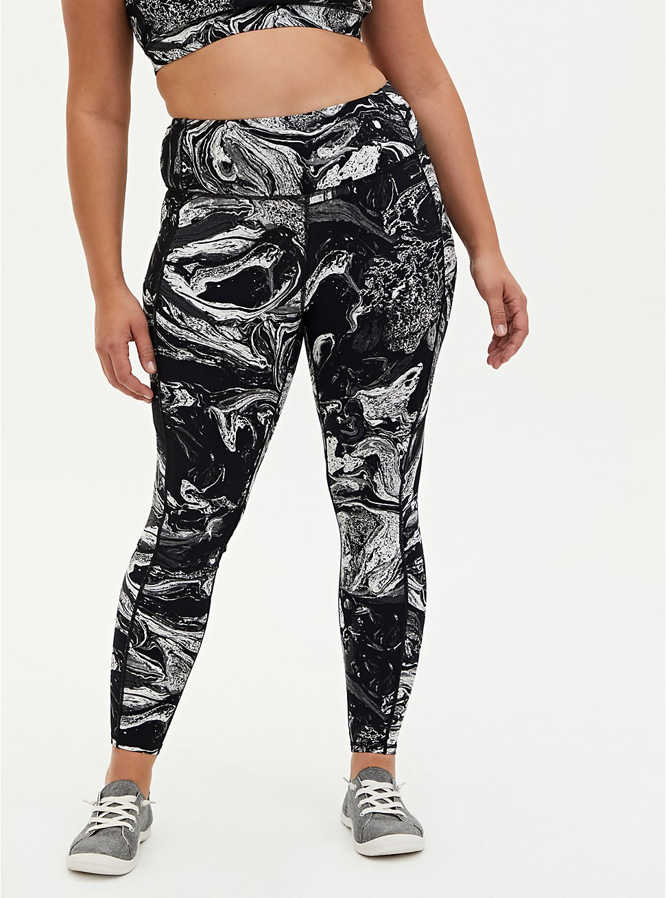 Black & White Marble Wicking Active Legging With Pockets, OTHER PRINTS, hi-res