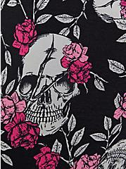 Black Floral Skull Longline Wicking Sports Bra , FLORAL SKULL, alternate