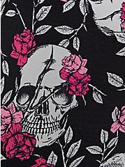 Plus Size Black Floral Skull Wicking Active Legging With Pockets, FLORAL SKULL, alternate