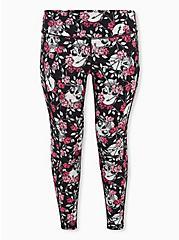 Plus Size Black Floral Skull Wicking Active Legging With Pockets, FLORAL SKULL, hi-res
