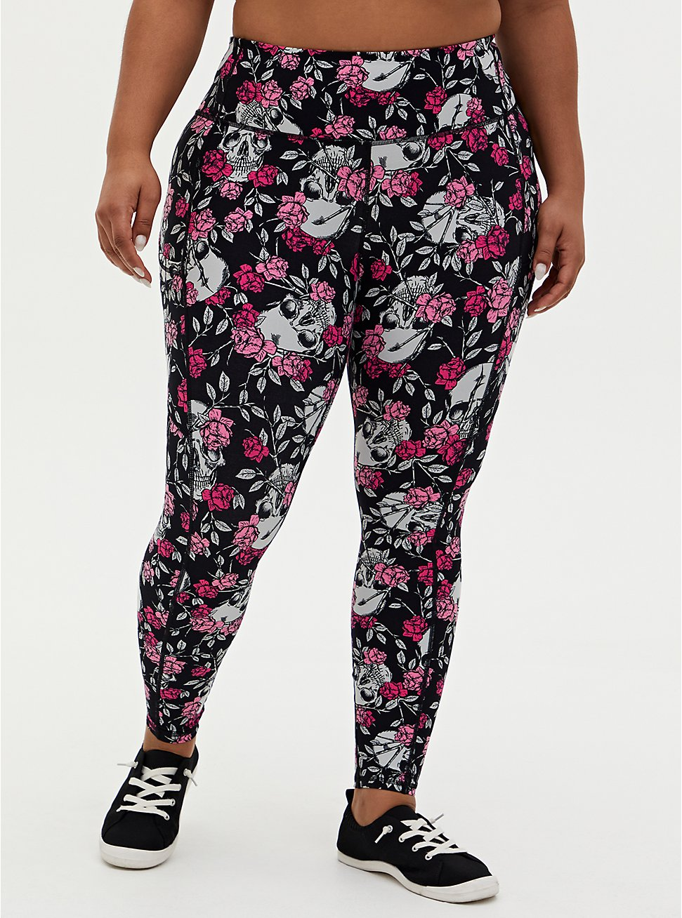 Black Floral Skull Wicking Active Legging With Pockets, FLORAL SKULL, hi-res