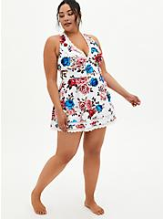 Floral V-Neck Lace Trim Swim Dress, MULTI, alternate