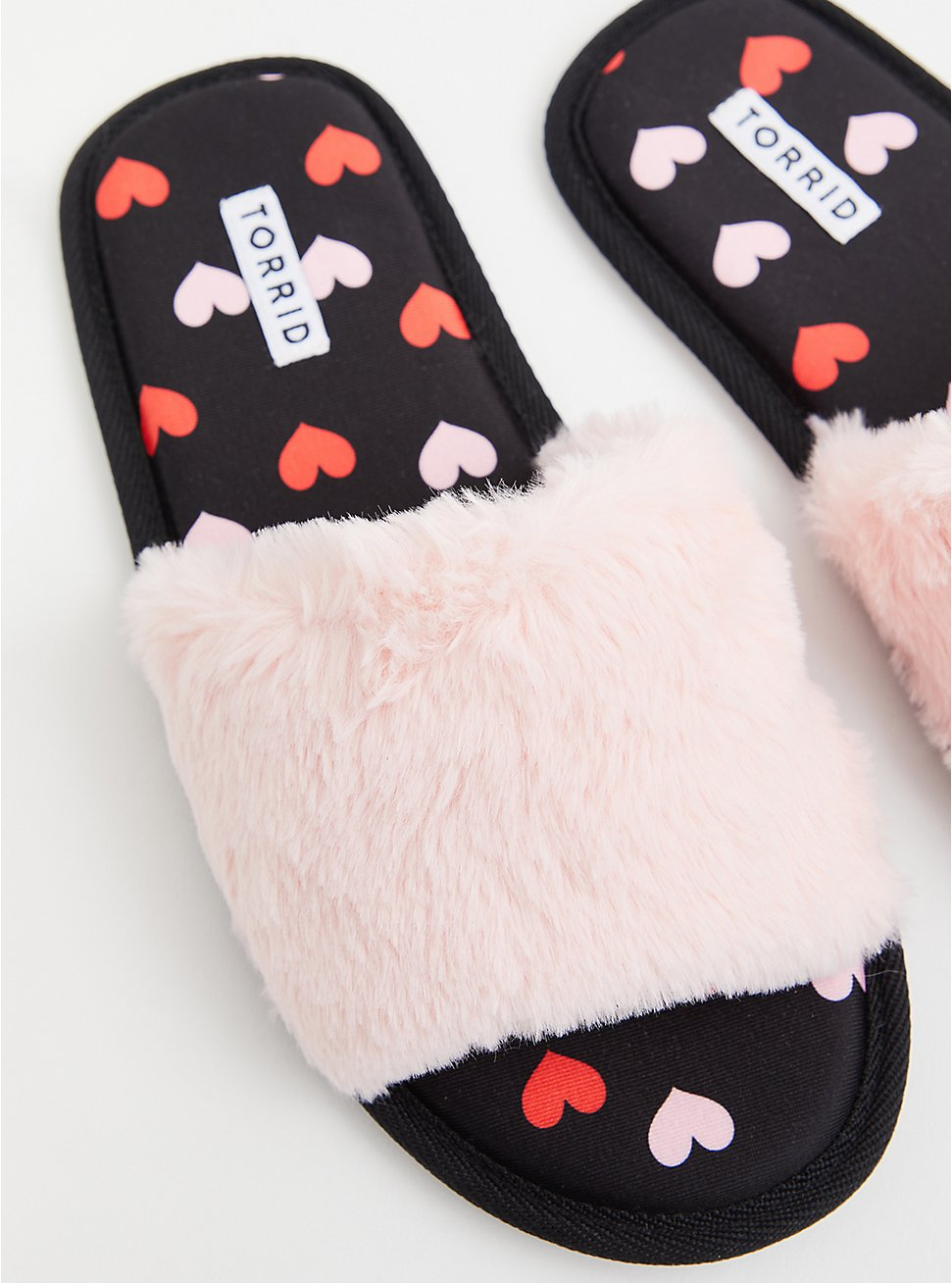 Pink Faux Fur Heart Slipper (WW), PINK, hi-res