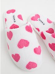 Ivory Faux Fur & Heart Print Slipper (WW), IVORY, alternate