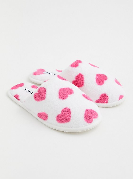 Ivory Faux Fur & Heart Print Slipper (WW), , hi-res