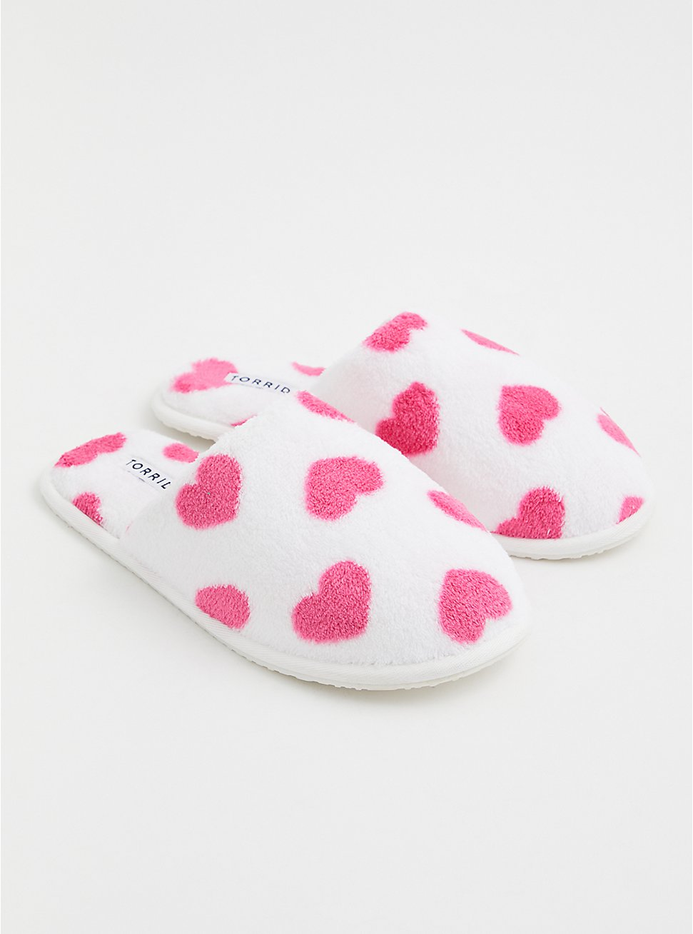 Ivory Faux Fur & Heart Print Slipper (WW), IVORY, hi-res