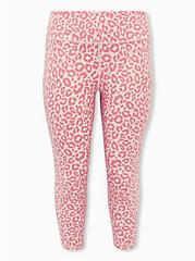 Pink Leopard Crop Wicking Active Legging with Pockets, LEOPARD - PINK, hi-res