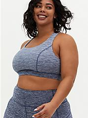 Vintage Indigo Space-Dye Lattice Back Wicking Sports Bra, INDIGO, alternate