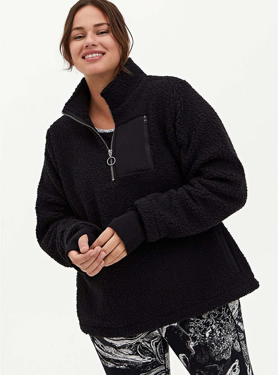 Black Sherpa Half-Zip Active Pullover, BLACK, hi-res