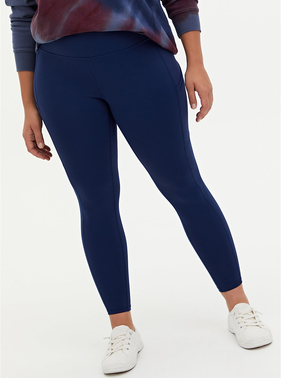 Navy Wicking Active Legging with Pockets, NAVY, hi-res