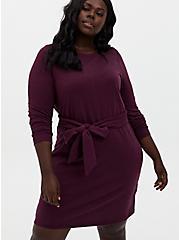 Plus Size Burgundy Purple French Terry Self-Tie Shift Dress, WINETASTING, hi-res