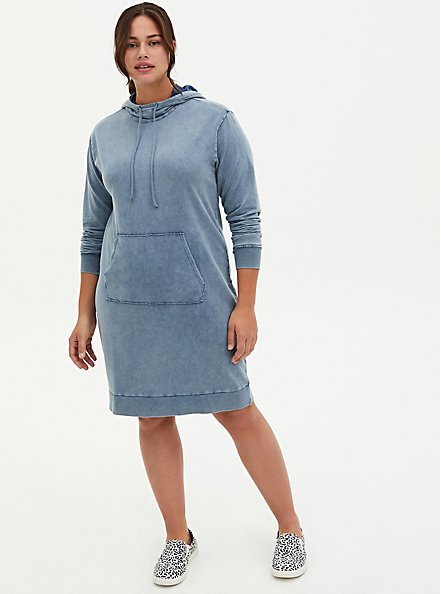 Vintage Indigo Mineral Wash French Terry Hoodie Dress, VINTAGE INDIGO, hi-res