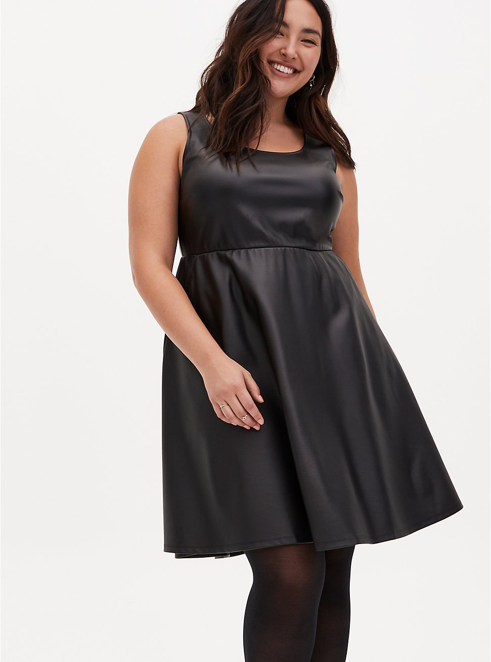 Black Faux Leather Sleeveless Skater Dress