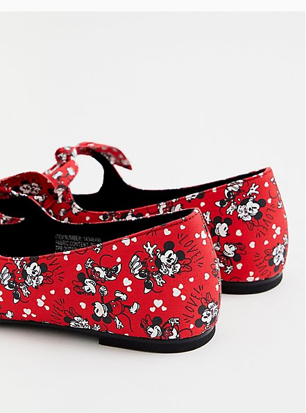 Disney Mickey Mouse & Minnie Mouse Red Mary Jane Flats (WW), RED, alternate