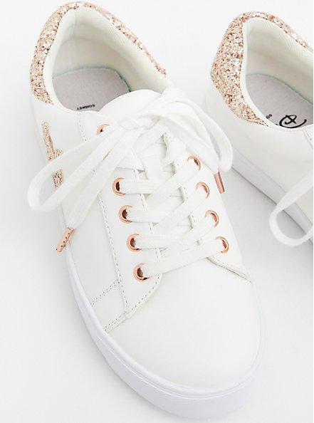 Disney Minnie Mouse Rose Gold Metallic Sneaker (WW), WHITE, alternate