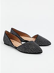 Black Faux Suede Studded Pointed D'Orsay Flat (WW), BLACK, alternate