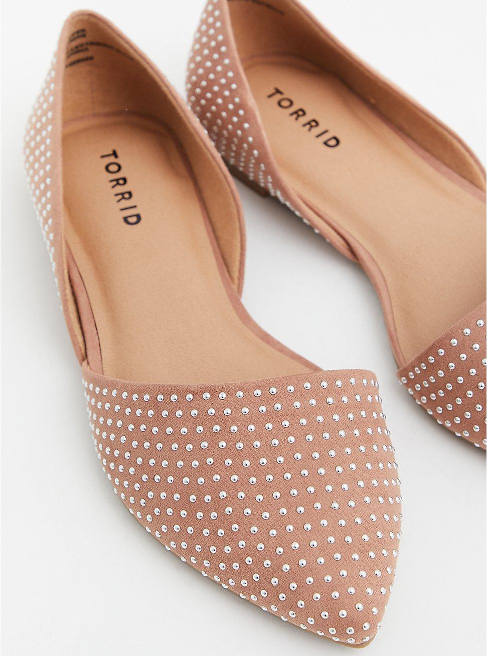 Plus Size  Taupe Faux Suede Studded Pointed D'Orsay Flat (WW), TAN/BEIGE, hi-res